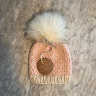 Smoke & Slate Hand Knit Light Pink and White Merino Wool Beanie with Faux Fur Pom Pom