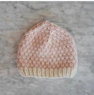 Smoke & Slate Hand Knit Light Pink and White Merino Wool Beanie