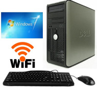 FAST Dell Desktop Computer PC DUAL CORE 3.40GHZ 160GB 4GB Windows 7 PRO WIFI