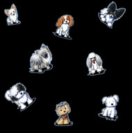 Happy Little Dogs in Black - Includes Pappilon, Cavalier King Charles, Chinese Crested, Yorkie, Havanese, Chihuahua, Miniature Poodle