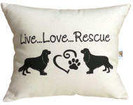 Live, Love, Rescue 100% Duck Cotton in Natural Vanilla Writing in Black.  If you would like a different color, please email us at lisa@noblepetcompany.com