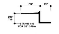 """Z Shadow Bead Aluminum STR-038-038 3/8"""" W x 3/8"""" D x 8' Lg."""