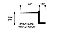 """Z Shadow Bead Aluminum STR-013-050 1/8"""" W x 1/2"""" D x 8' Lg."""