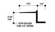 """Z Shadow Bead Aluminum STR-025-050 1/4"""" W x 1/2"""" D x 8' Lg."""
