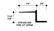 """Z Shadow Bead Aluminum STR-038-050 3/8"""" W x 1/2"""" D x 8' Lg."""