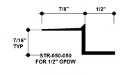 """Z Shadow Bead Aluminum STR-050-050 1/2"""" W x 1/2"""" D x 8' Lg."""