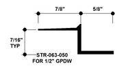 """Z Shadow Bead Aluminum STR-063-050 5/8"""" W x 1/2"""" D x 10' Lg."""