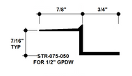 """Z Shadow Bead Aluminum STR-075-050 3/4"""" W x 1/2"""" D x 8' Lg."""