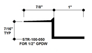 "Aluminum Drywall Trim / Z Shadow Bead 1"" x 1/2"" Primed for Painting 8'-0"" Lengths (STR-100-050)"