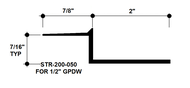 """Z Shadow Bead Aluminum STR-200-050 2"""" W x 1/2"""" D x 8' Lg."""