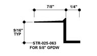 """Z Shadow Bead Aluminum STR-025-063 1/4"""" W x 5/8"""" D x 8' Lg."""