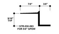 """Z Shadow Bead Aluminum STR-038-063 3/8"""" W x 5/8"""" D x 8' Lg."""
