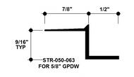 """Z Shadow Bead Aluminum STR-050-063 1/2"""" W x 5/8"""" D x 8' Lg."""