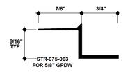 """Z Shadow Bead Aluminum STR-075-063 3/4"""" W x 5/8"""" D x 8' Lg."""