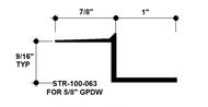 """Z Shadow Bead Aluminum STR-100-063 1"""" W x 5/8"""" D x 8' Lg."""