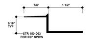 """Z Shadow Bead Aluminum STR-150-063 1-1/2"""" W x 5/8"""" D x 8' Lg."""