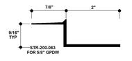 """Z Shadow Bead Aluminum STR-200-063 2"""" W x 5/8"""" D x 8' Lg."""