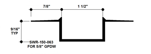 """Aluminum Drywall Trim / Reveal Bead 1 1/2"""" x 5/8"""" Primed for Painting 8'-0"""" Lengths (SWR-150-063)"""