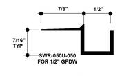 """F Reveal Bead Alum SWR-050U-050 1/2"""" W x 1/2"""" D x 8' Lg."""