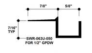 """F Reveal Bead Alum SWR-063U-050 5/8"""" W x 1/2"""" D x 8' Lg."""