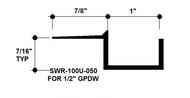 """F Reveal Bead Alum SWR-100U-050 1"""" W x 1/2"""" D x 8' Lg."""