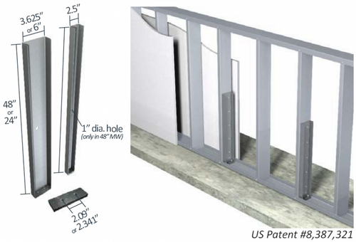 """Midwall™ Knee Wall Brace Kit 3-5/8"""" wall width x 24"""" height Structurally Rated Load Bearing"""