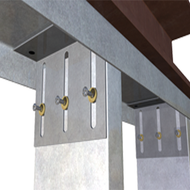 "VertiClip® SL w/ 3"" Slots Steel Curtain Wall Clip - 3"" Vertical Deflection Connection"
