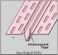 "093X- V  Fire Rated Control Expansion Bead 8' -0"" Ridged Vinyl PVC"