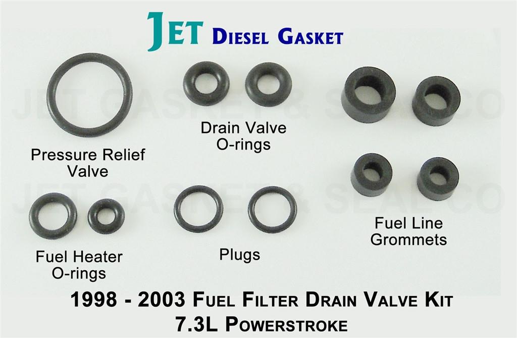 powerstroke 7 3l fuel filter drain valve o-ring kit  image 1