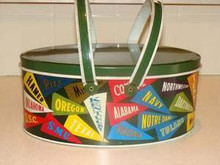 Ivy League Banner Tin Lunchbox or Sewing Box