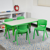 23.625''W x 47.25''L Rectangular Green Plastic Height Adjustable Activity Table Set with 4 Chairs