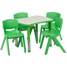 21.875''W x 26.625''L Rectangular Green Plastic Height Adjustable Activity Table Set with 4 Chairs