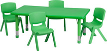 24''W x 48''L Rectangular Green Plastic Height Adjustable Activity Table Set with 4 Chairs
