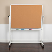 "HERCULES Series 53""W x 62.5""H Reversible Mobile Cork Bulletin Board and White Board with Pen Tray"