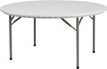 5-Foot 661 lb. Static Load Round Granite White Plastic Folding Table RB
