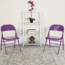 COLORBURST Series Impulsive Purple Triple Braced & Double Hinged Metal Folding Chair