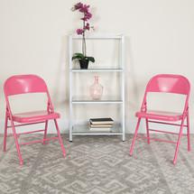 COLORBURST Series Bubblegum Pink Triple Braced & Double Hinged Metal Folding Chair