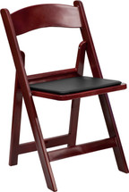 1000 lb. Capacity Red Mahogany Resin Folding Chair with Black Vinyl Padded Seat