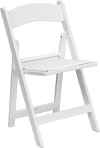 1000 lb. Capacity White Resin Folding Chair with White Vinyl Padded Seat