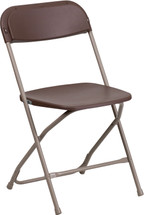 800 lb. Capacity Premium Brown Plastic Folding Chair