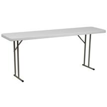 18''W x 72''L Granite White Plastic Folding Training Table RB