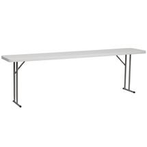 18''W x 96''L Granite White Plastic Folding Training Table RB