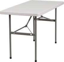 24''W x 48''L Granite White Plastic Folding Table RB