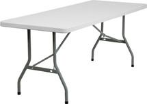 30''W x 72''L Granite White Plastic Folding Table RB