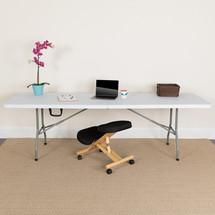 30''W x 96''L Bi-Fold Granite White Plastic Folding Table RB