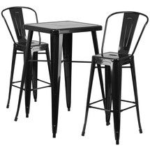 23.75'' Square Black Metal Indoor-Outdoor Bar Table Set with 2 Barstools with Backs
