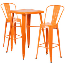 23.75'' Square Orange Metal Indoor-Outdoor Bar Table Set with 2 Barstools with Backs