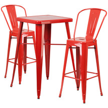 23.75'' Square Red Metal Indoor-Outdoor Bar Table Set with 2 Barstools with Backs