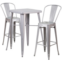 23.75'' Square Silver Metal Indoor-Outdoor Bar Table Set with 2 Barstools with Backs