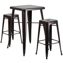 23.75'' Square Black-Antique Gold Metal Indoor-Outdoor Bar Table Set with 2 Square Seat Backless Barstools